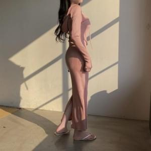 Hooded Ribbed Zip Hooded Long Dress