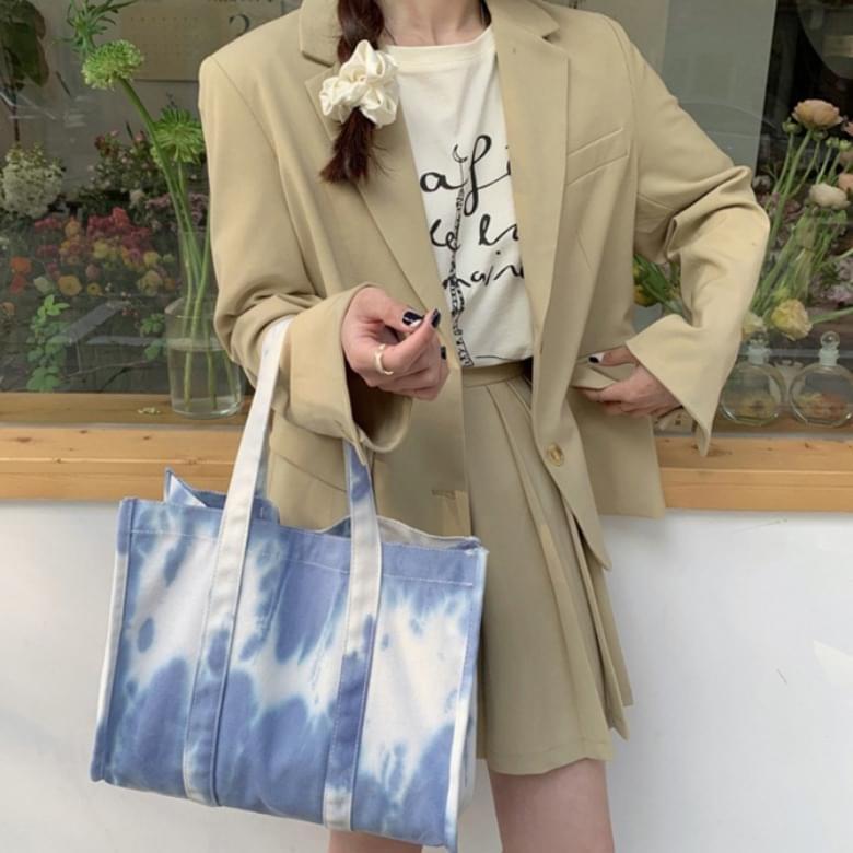 blue three-dimensional color eco bag shoulder bag