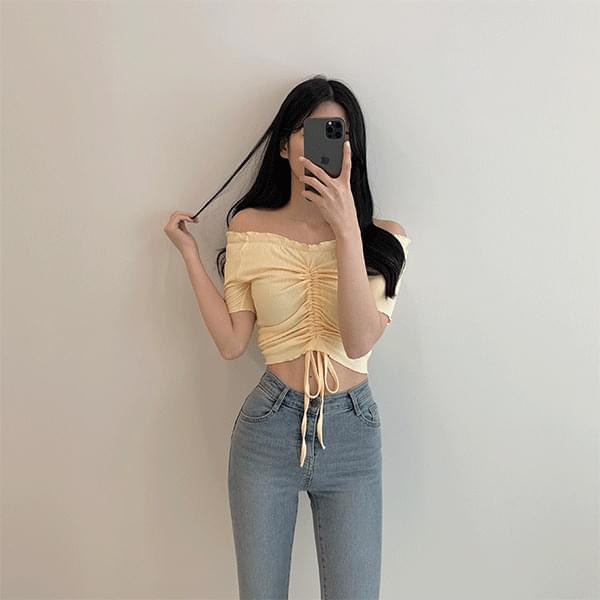 Monday, string shirring off-the-shoulder cropped T-shirt