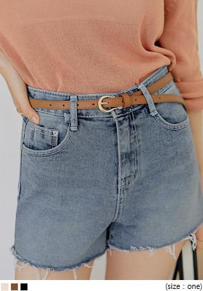 Gold-Tone Buckle Slim Belt