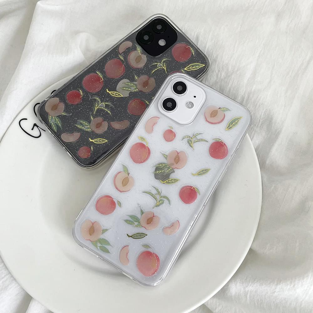Peach Peach Sea Glitter Pattern Transparent iPhone Case