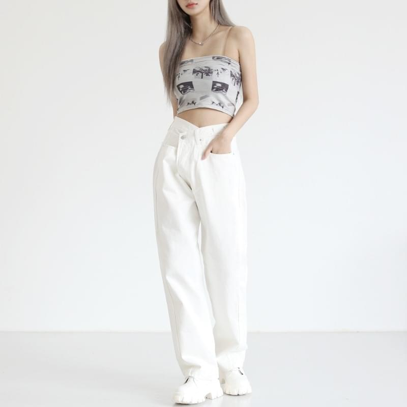 record print cropped top