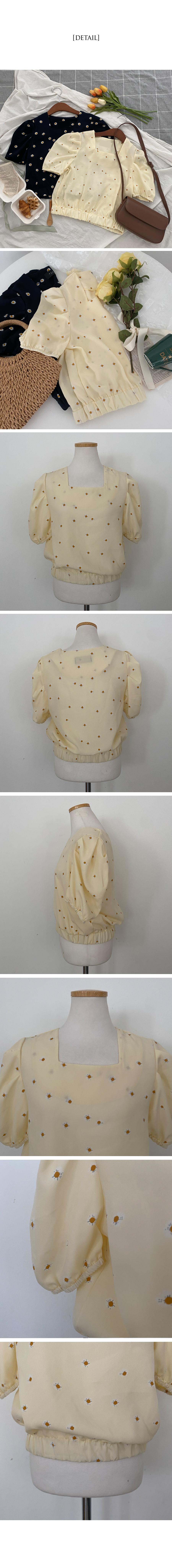 蒲公英碎花方領公主袖襯衫