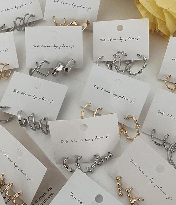 Metal Ring Earring Stud Set 6 Types