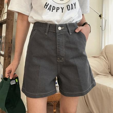 韓國空運 - stitch jeans 短褲