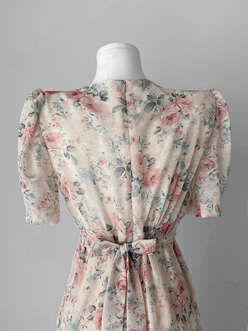 Gorgeous Labian Rose V-Neck Wrap Shirring Puff Short Sleeve Mermaid Chiffon Flower Dress