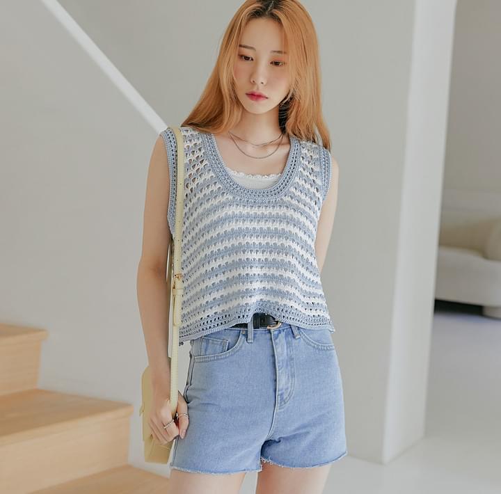 U-Neck Striped Knit Vest