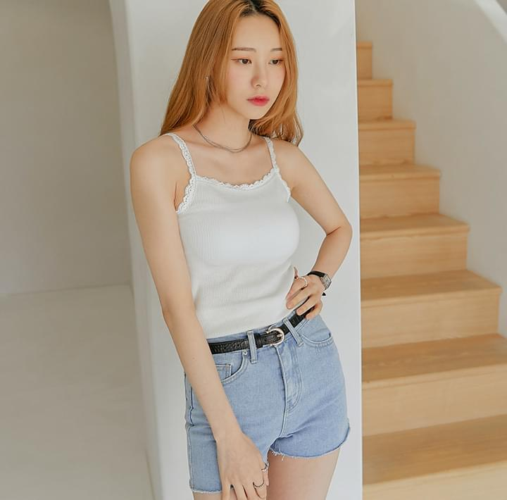 Lace Trim Ribbed Sleeveless Top (Delayed delivery)