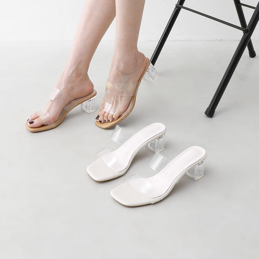 Transparent clear double strap mule heel slippers 11015 ♡3rd sold out♡