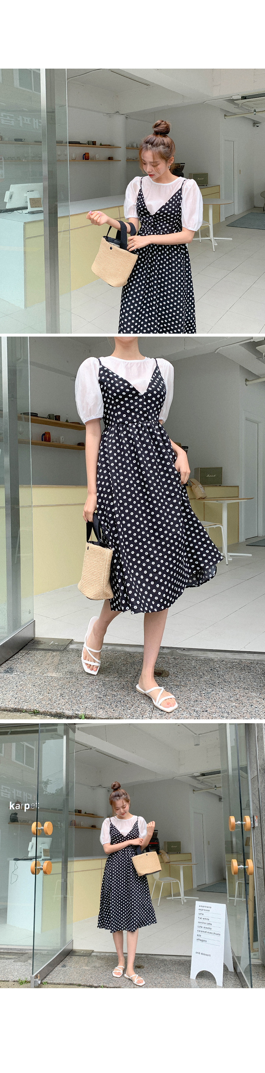 Lovely Magic Puff Blouse + Dot Dress Set