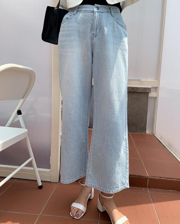 light summer wide denim trousers