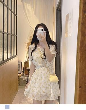 Talk Square Neck Flower Dress