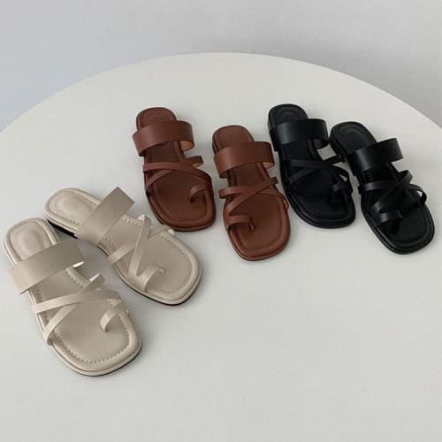 韓國空運 - 交叉條帶套趾低跟拖鞋 涼鞋