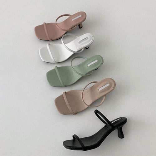 韓國空運 - 方頭雙條帶純色中跟拖鞋 涼鞋