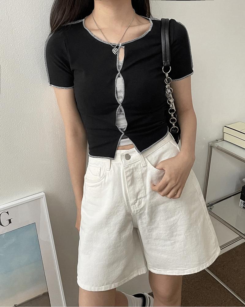 Melting Stitch Split Layered Crop Short Sleeve T-shirt 短袖上衣