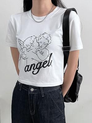 Cupid Angel Crop Short Sleeve Tee
