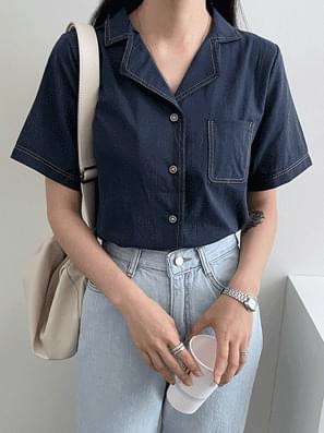 Stitched Linen Short Sleeve Shirt