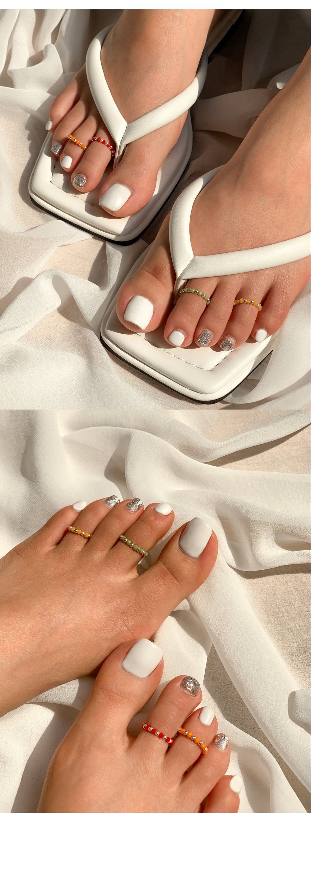 Silver 925&Color Ball Toe Ring Toe Finger Knife Ring