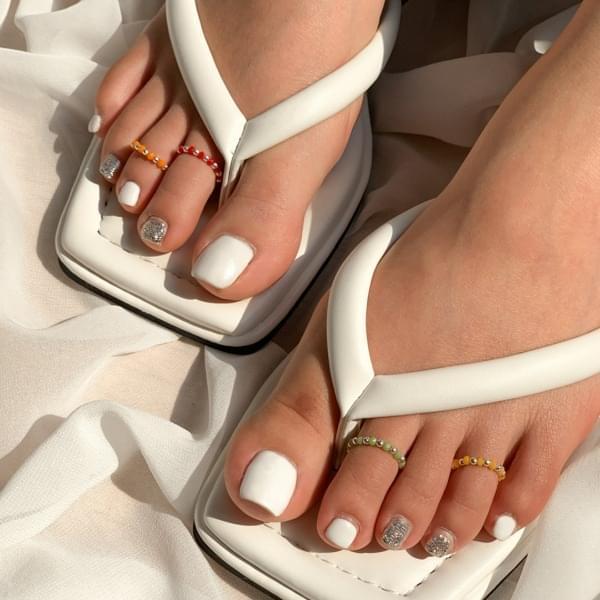 Silver 925&Color Ball Toe Ring Toe Finger Knife Ring 戒指