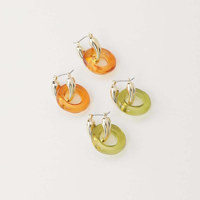 two-way mix circle earrings