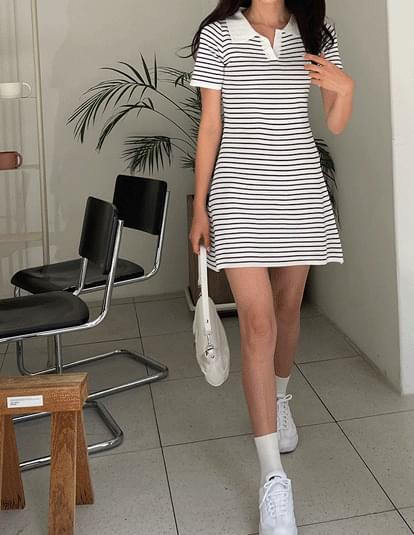 striped pique mini Dress