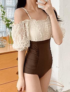 ★Summer plan ★Flower lace see-through monokini off-the-shoulder design :D