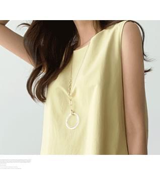 Transparent Circle Long Necklace #86576