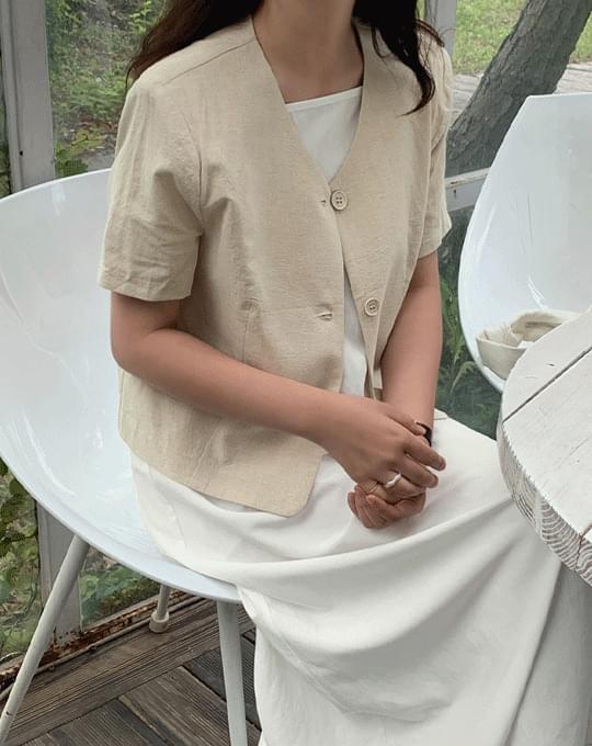 Riboro Linen No-collar Short Sleeve Jacket - 3 color