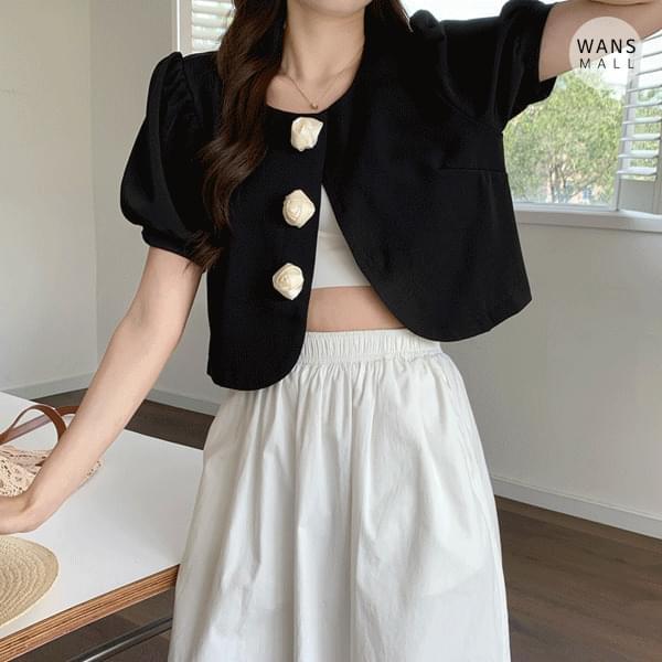 JK4872 Bandible Flower Button Short Sleeve Jacket
