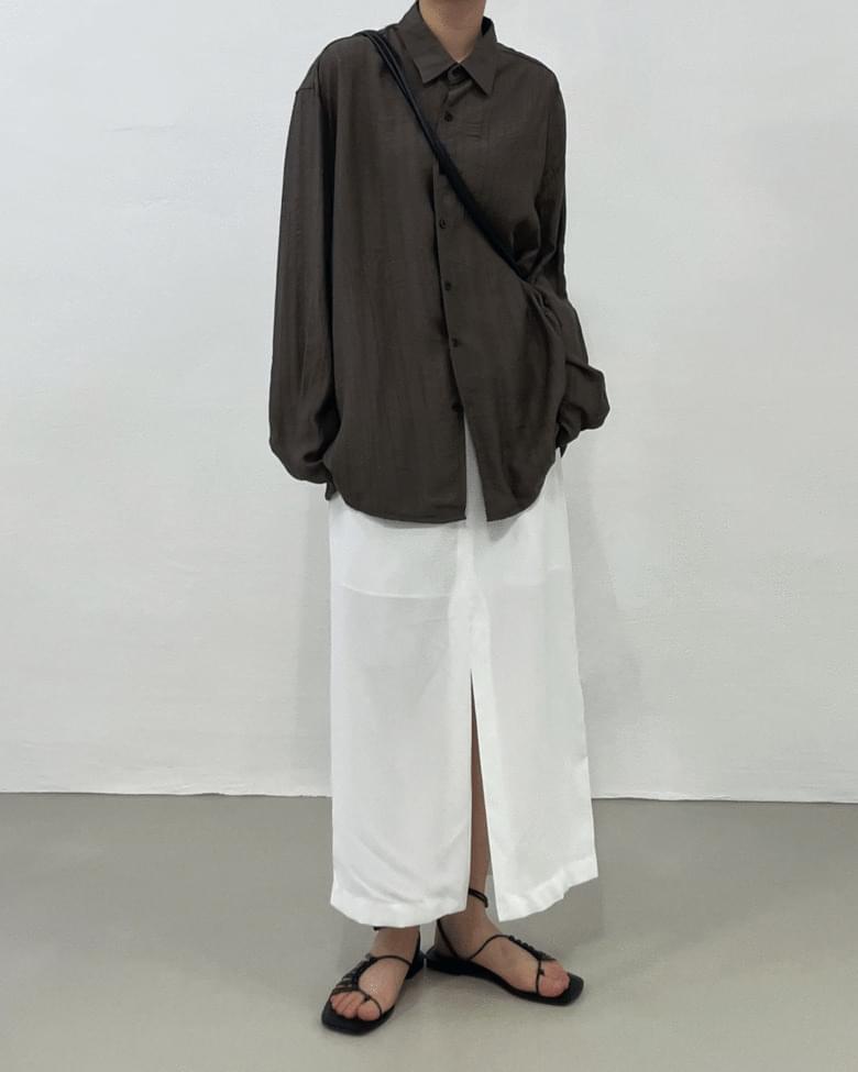 Louvre Slit High Waist Long Skirt