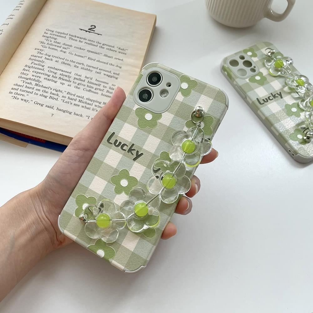 Green Flower Strap Check iPhone Case