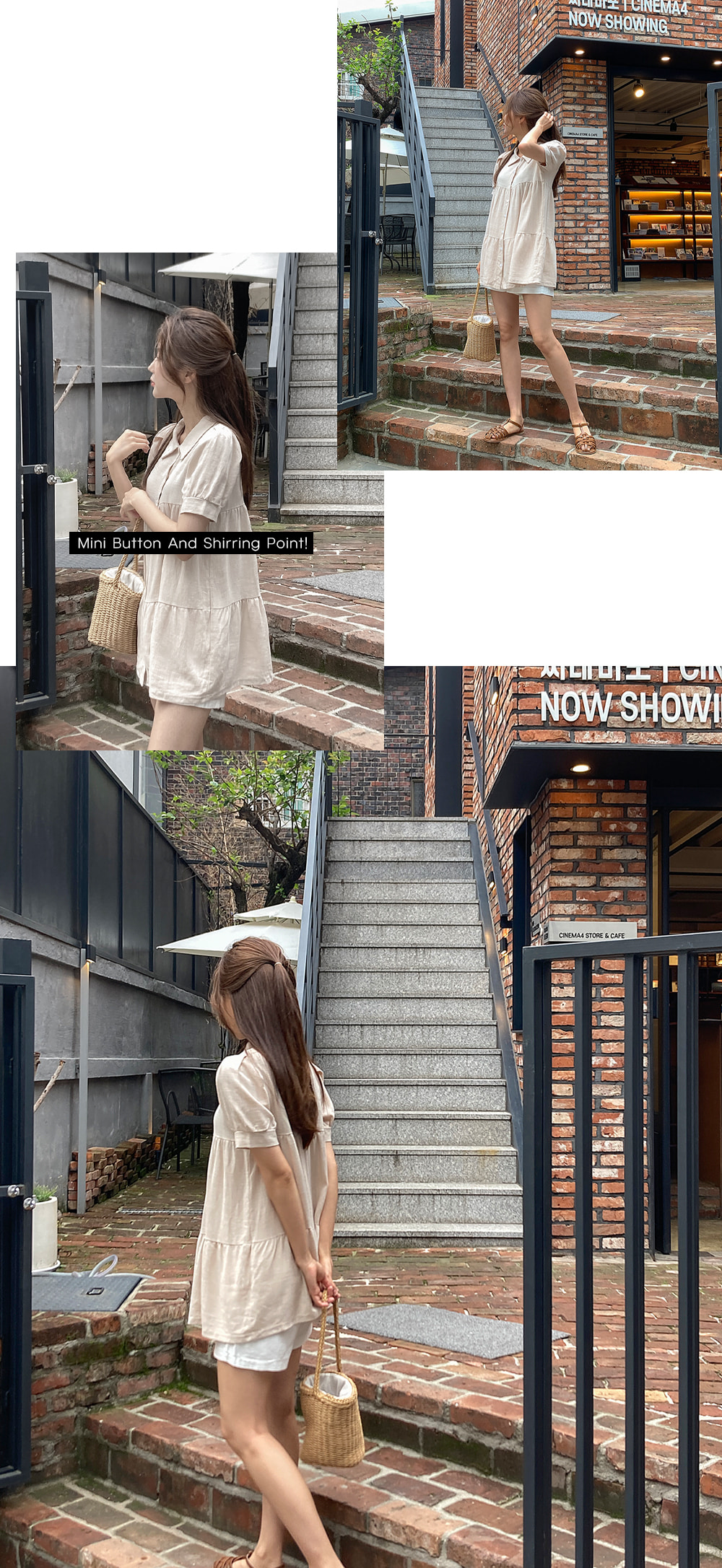 Linen linen shirring Dress