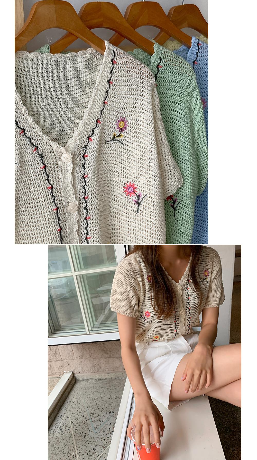 flori embroidered cardigan