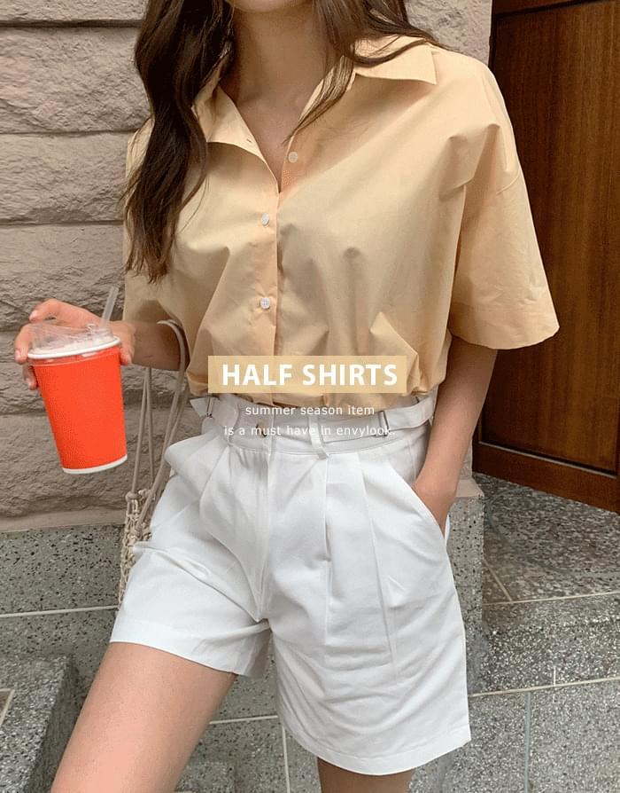 half Boxy collared shirt