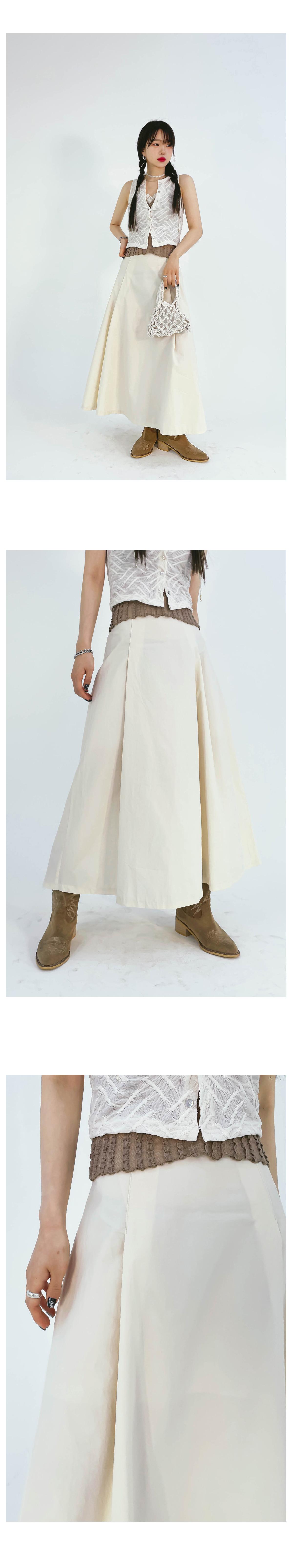 flared powder long skirt