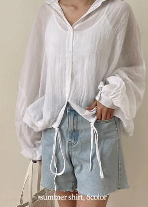 dopley Loose-fit see-through string shirt