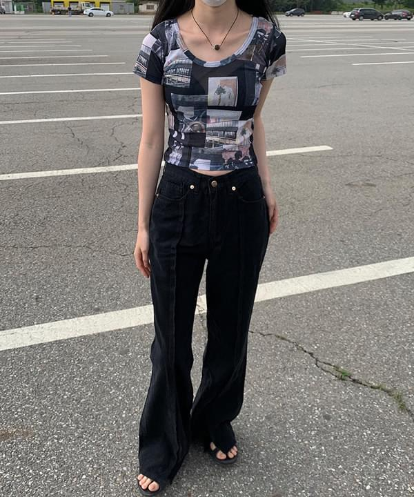 line slit Flared trousers