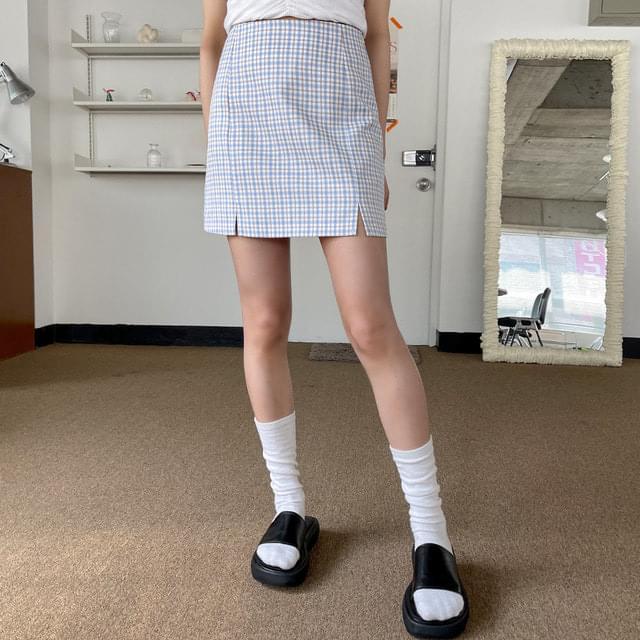 mound check slit mini skirt 裙子