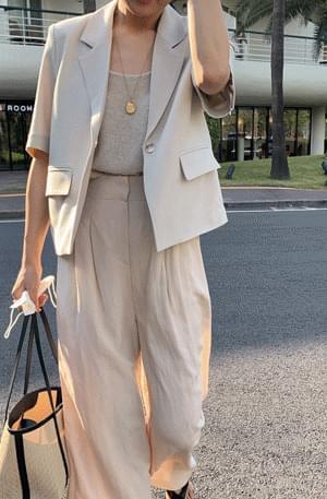 《Summer Planning Jacket》MMMM/ Minimal Button Short Sleeve Short Jacket