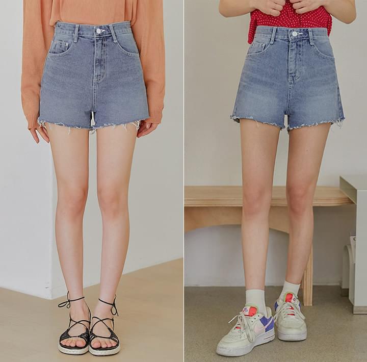 Raw Hem Mini Denim Shorts