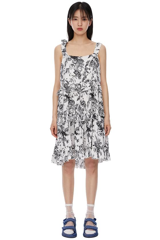 palm tree tiered mid-length dress
