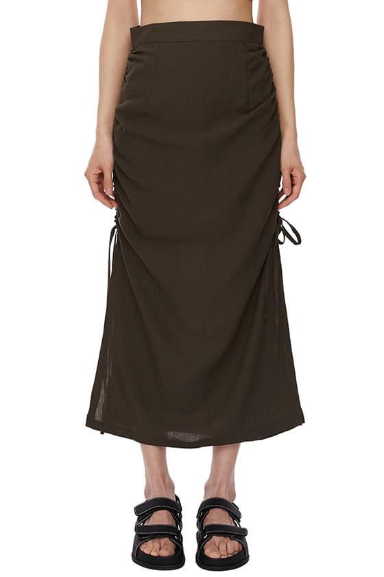 Muse side string long skirt