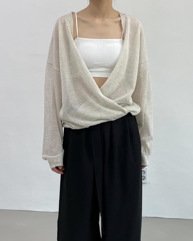 linen two-way wrap cardigan