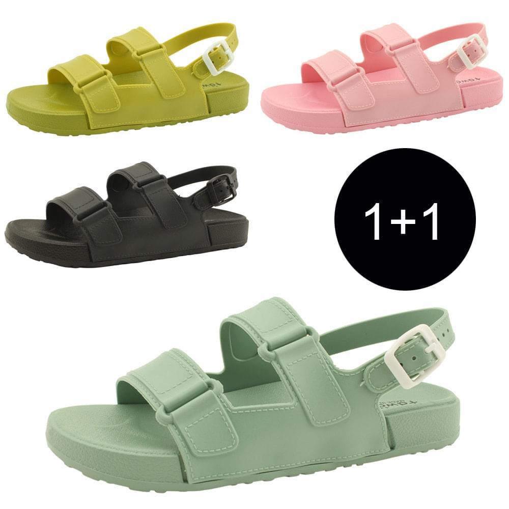 1+1 可愛果凍色系兩層涼鞋