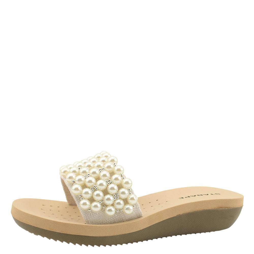 linen beads wedge heel cushion slippers beige