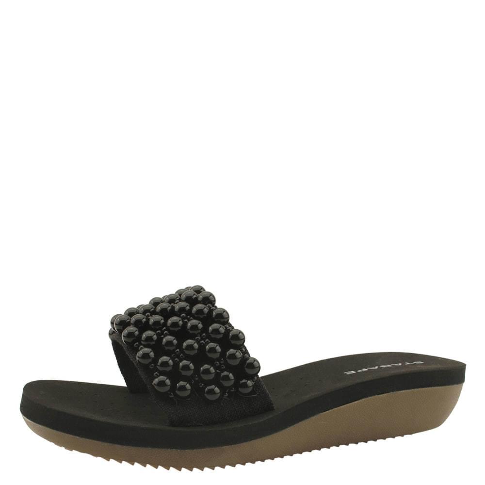 Linen Beads Wedge Heel Cushion Slippers Black