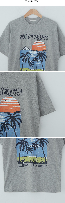 Beach Sunset Printing Loose-fit Tee