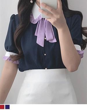 color matching short sleeve ribbon bl