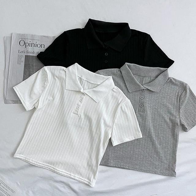 Button Ribbed Collar Crop Short Sleeve Tee