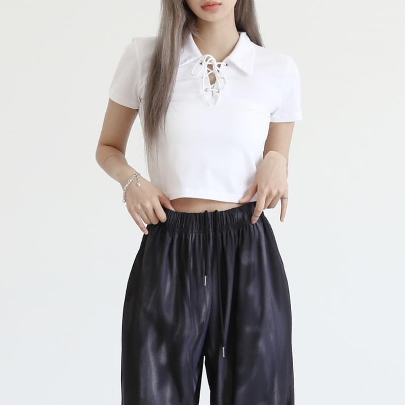 tiv strap collar short sleeve T-shirt